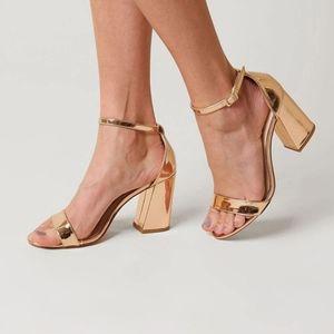 Rose Gold Open Toe  Ankle Strap Block Heel Sandals